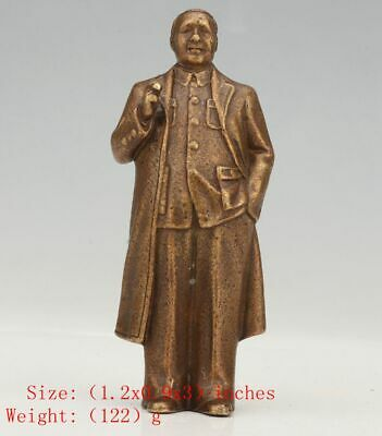 Retro Chinese Bronze Statue Mao Zedong Old Solid Mascot Decora Gift Colle