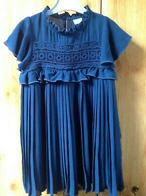 Girls NEXT Beautiful Navy Blue Fully Lined Pleated Dress Age 4 Years