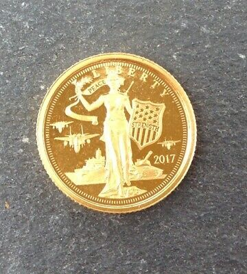 2017 Cook Islands $5 Liberty 1/10 oz .24 Pure Gold Coin.. Free Shipping .Lot#3