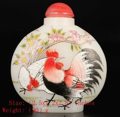 Rare Chinese Coloured Glaze Snuff Bottle Statue Hand-Painted Cock Mascot Decor