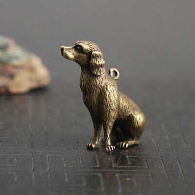 Antique Chinese Pure Brass Carved Mini Dog Old Collectibles Statue Pendant Key