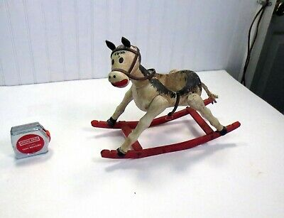 WONDERFUL Antique Primitive Folk Art Early Wooden Rocking Horse Toy Naive