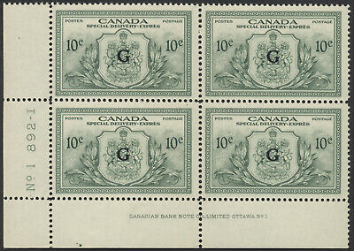 Canada #EO2 10c Special Delivery 'G' Overprint, LL Plate Block, Mint F-VF NH