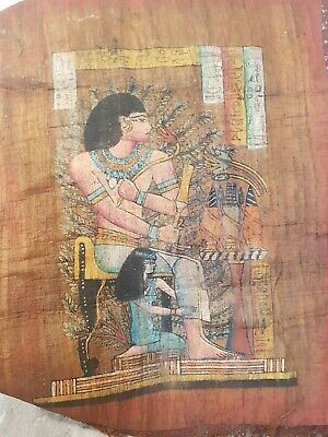 Rare Antique Ancient Egyptian Papyrus King throne & wife Corona 1780-1690BC