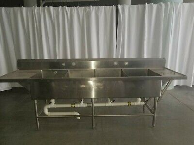 """112"""" Heavy Duty 4 Compartment Stainless Sink with 2 Drain Boards 112""""x30""""x36"""""""