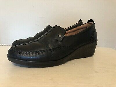 Ladies Hotter Paris Black Leather Wedge Loafers Slip On Court Shoes UK 7 EU 41