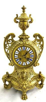 Lovely Antique French 1880 Embossed Gilt Bronze Bell Striking Mantle Clock