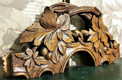Grapes wine pierced wood carving pediment Antique french salvaged cornice crest