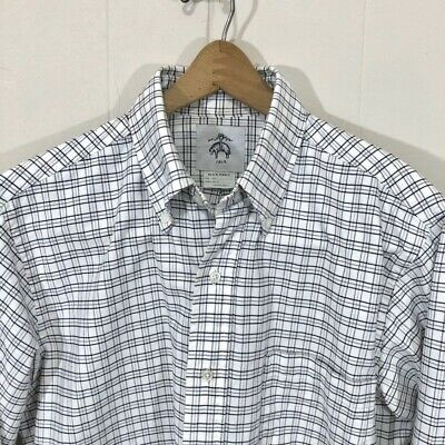 Brooks Brothers Black Fleece Thom Browne White Black Check Shirt Mens BB2 Medium