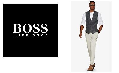 New Hugo Boss men grey suit designer jeans vest wool waistcoat 40R Large £129