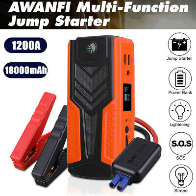 1200A Peak 18000mAh Portable Car Jump Starter Auto Battery Booster Power Pack