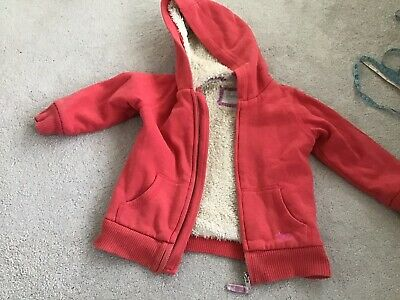 Girls Warm Fur Lined Sweat Jacket Zipped Hoody Mini Boden Age 2 - 3