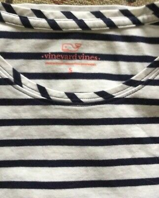 Vineyard Vines Women's Classic Blue/White Striped Short-Sleeve Tee Size Small