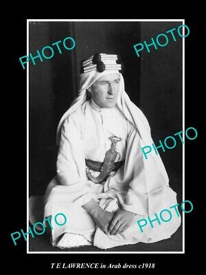 OLD LARGE HISTORIC PHOTO BRITISH MILITARY HERO T E LAWRENCE IN ARAB DRESS c1918