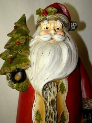 "Vintage TII COLLECTIONS Old World CHRISTMAS 16"" SANTA, Hand Painted Resin"
