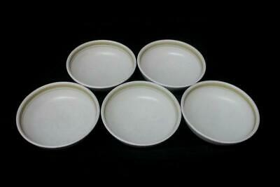 Denby Pottery England 5 Cereal Bowls Egg Shell With Gold Stripes 6 3/4 Inch