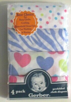 Gerber Girls Prefold Cloth Diapers New Cotton 4 pack