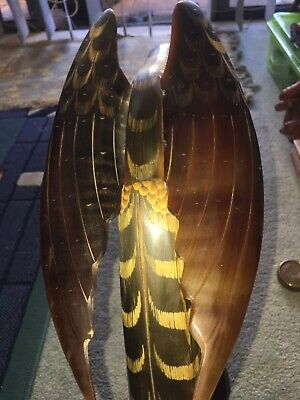 Vintage Carved Buffalo Horn Eagle From Thailand