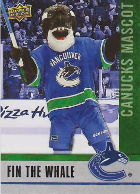 2020 Ud National Hockey Card Day Fin The Whale Mascot Canucks # M-8 !