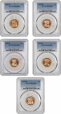 Lotto di 1955-D 1c PCGS MS66 Rd (5 Monete) - Lincoln Centesimi