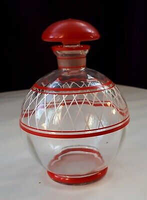 Retro 1950s Glass Decanter, Hand-Painted Red & White. Home Drinks Tray/ Bar Gift