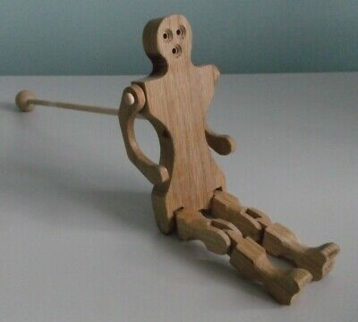 Folk Art Hand Made Wood Jointed Man Figure Wooden Puppet on a Stick  Artist Mark