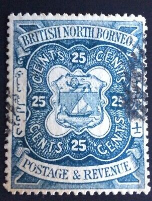 BRITISH COMMONWEALTH-NORTH BORNEO ,COAT OF ARMS 1886-90, 25 CENTS, Very Nice