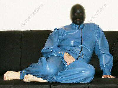 2311 Latex loose Full Catsuit Rubber Gummi Rompers mask hood customized 0.4mm