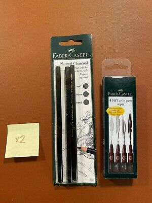 Faber-Castell Pitt natural charcoal pencil set of 3 + Sepia Pens