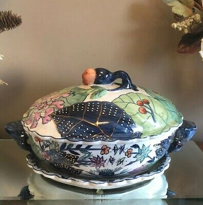 Antique Chinese Porcelain Tobacco Leaf Lidded Tureen With Underplate Signed