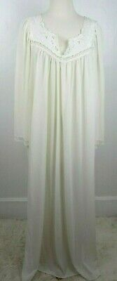 Vtg Lorraine Ivory Satin Nylon and Lace Long Sweep Nightgown Women's XL