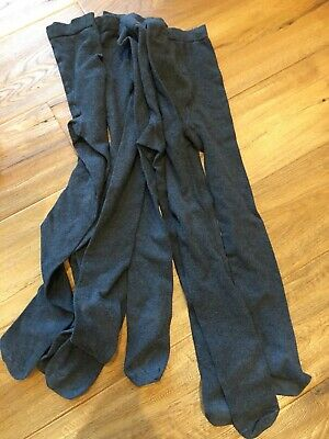 Girls - M&S - Grey wool school tights - age 7-10 years x 5 pairs