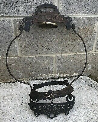 Antique Victorian Cast Iron Ceiling Hanging Oil Lamp Bracket