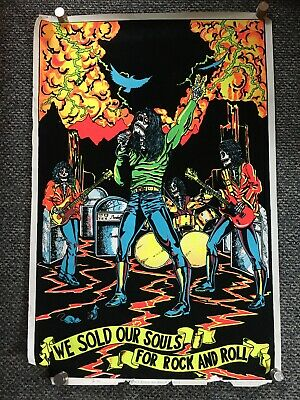 Vintage BLACKLIGHT poster We Sold Out Souls For Rock And Roll