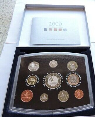 2000 Royal Mint Millennium Standard Proof Set Cased With COA, Box And Outer