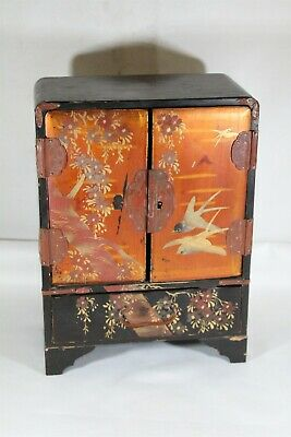 Vintage Chinese Black Lacquer Tree Blossoms Birds Folk Wooden Jewelry Box Chest