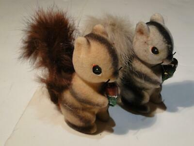 Brown and Grey Striped Flocked Squirrels Made in Japan