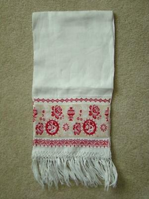 Unused Antique Damask Linen SHOW TOWEL, Turkey Red, Compass, Dolphin & Urn