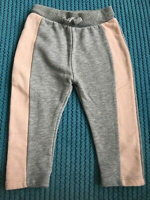 River Island Mini Baby Girls 6-9 Months Jogging Bottoms Grey And Peach