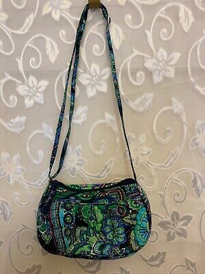VERA BRADLEY Little Crossbody Green, Blue Lavender Flowers Bag Purse
