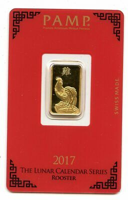 Avc- 2017 Lunar Rooster Pamp Suisse 5 Gram Gold Bar .9999 In Assay