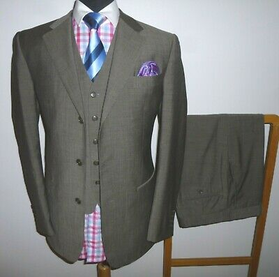 Men's Chester Barrie Suit 38R Wool Mohair 3 Piece Jacket Waistcoat Trousers 34R