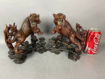 19th/20th C. Chinese Pair Redwood Carved Figure of Tigers