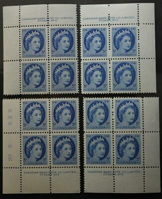 Canada #341, MNH OG M/S Of 4 Plate Blocks, Plate #3, Wilding Series