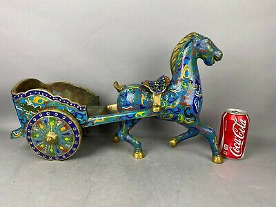 19th/20th C. Chinese Gilt Cloisonné Enameled Figure of Horse w Cart