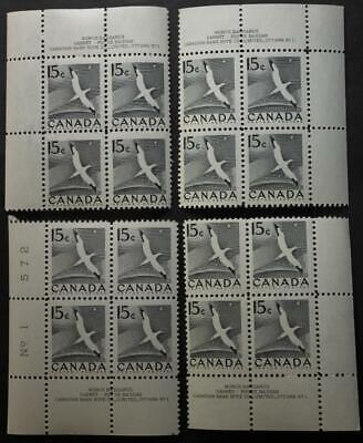Canada #343, MNH OG, M/S Of 4 Plate Blocks, Plate #1, Grey Gannet