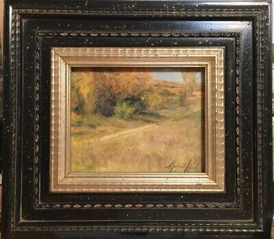 Plein Aire path in Osage Prairie oil painting by Margaret Aycock Oklahoma Framed