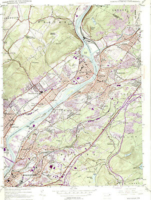 PITTSTON, PENNSYLVANIA > 1947/1976 USGS Topographic Map Original 7.5-minute Topo
