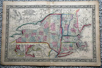 1864 Rare Antique Mitchell Atlas Map Of New York State-Handcolored