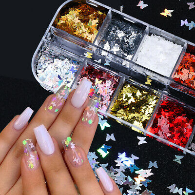 3D Laser Butterfly Sequins Holographic Nail Art Flakes Glitter Foil Decoration J
